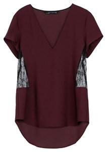 71b1f1094fdf76 Zara Fashion Oxblood Lace Black Sexy V Neck Trendy Date Night Top Maroon