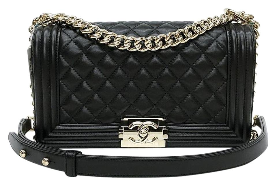 baa11a31d8c7 Chanel Boy Le with Light Polished Gold Hardware Black Lambskin ...