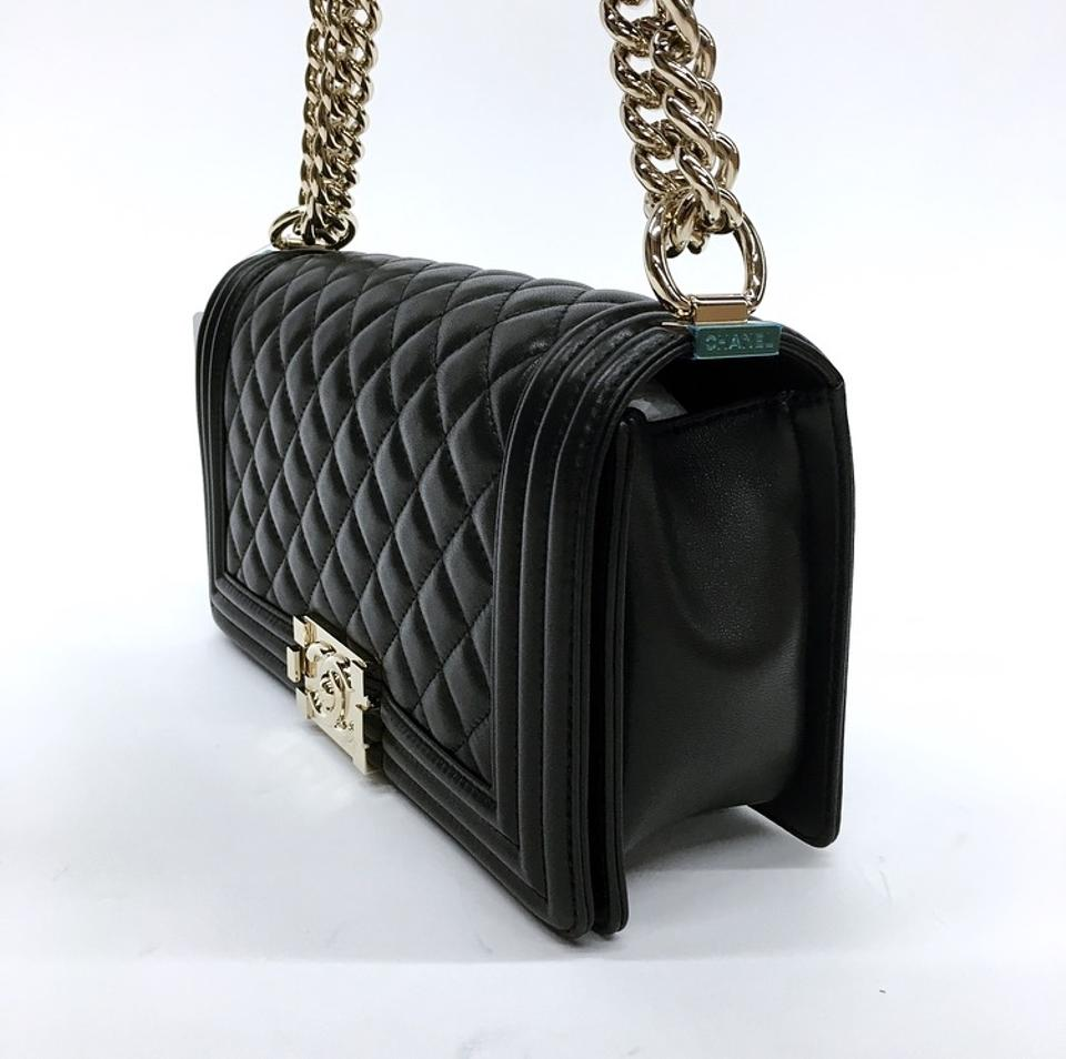 65ebda15fb77 Chanel Boy Le with Light Polished Gold Hardware Black Lambskin Shoulder Bag  - Tradesy