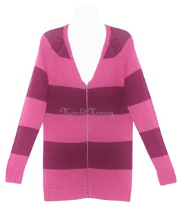 Garnet Hill Striped Zip-front Sweater