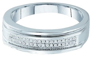 Other BrianG MENS DESIGNER 10k WHITE GOLD 0.12 CTTW DIAMOND MICRO PAVE LUXURY FASHION RING / WEDDING BAND