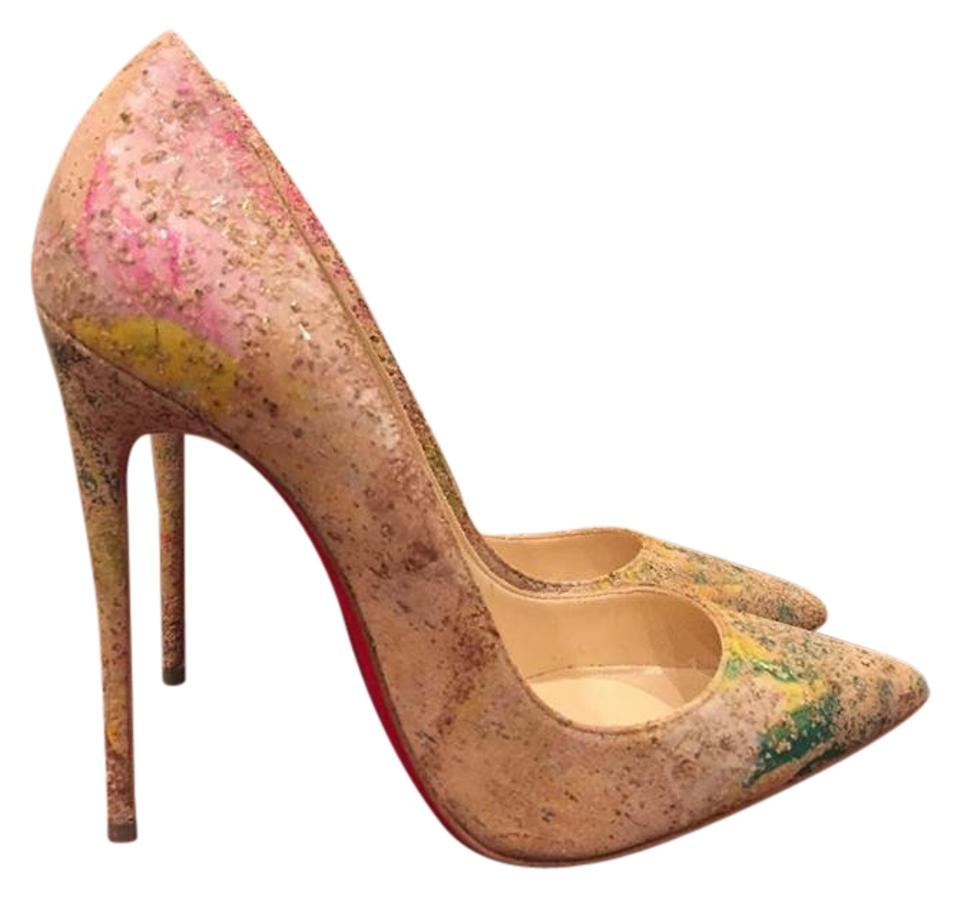 Christian Louboutin Paint Beige So Kate 120 Cork Blooming Paint Louboutin Thin Heel Pumps 14940a
