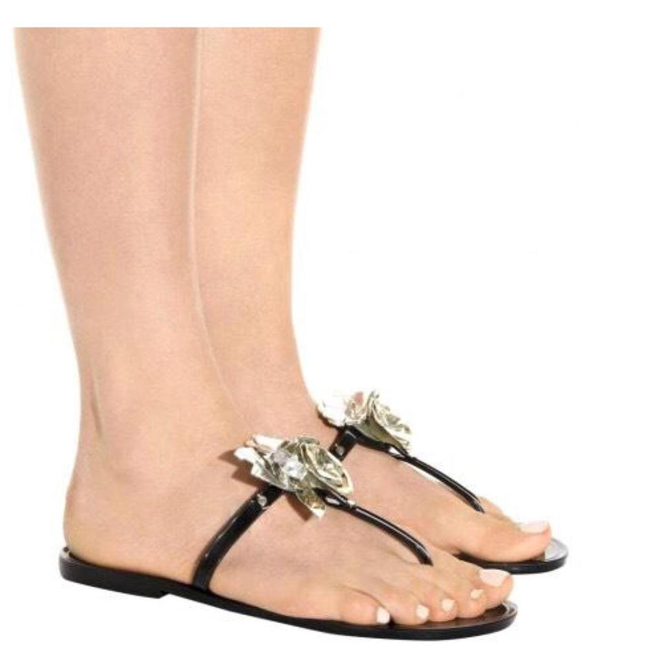 ce24a3ade20e Tory Burch Black Blossom Jelly Thong Sandals Size US 5 Regular (M