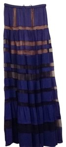 BCBGMAXAZRIA Bcbgrunway Maxi Sheer Sexy Couture Fashion Style Skirt Blue Black