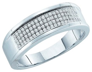 Other BrianG MENS DESIGNER 10k WHITE GOLD 0.25 CTTW DIAMOND MICRO PAVE LUXURY FASHION RING / WEDDING BAND
