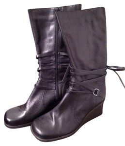 Cathy Jean Leather Wedge Straps Black leather. Boots