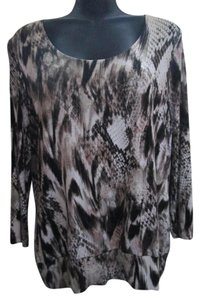 Chico's Abstract Medium Top Brown & White