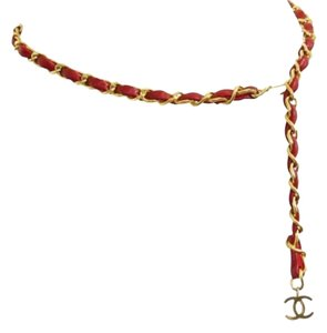 Chanel Chanel CC Signature Gold Chain Belt Red Vintage