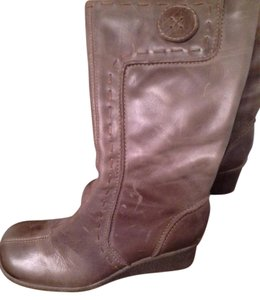 Cathy Jean Leather Detailed Stitching Brown Boots