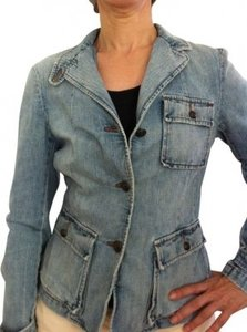 Ralph Lauren Safari Style Fitted Distressed Pale Blue Dark Brass Buttons Light denim Womens Jean Jacket