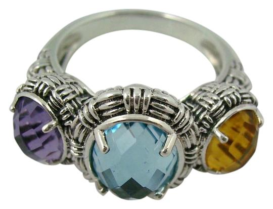 Hilary Joy Hilary Joy 4.16ct Multigem 3-Stone Texture Oval Sterling Silver Ring - Size 7 Image 0