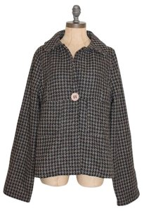 Anthropologie Boxy One Button Bow Tweed Wool Blend BLACK Jacket