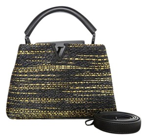 Louis Vuitton Lv Knit Capucines Gm Satchel in Black&gold