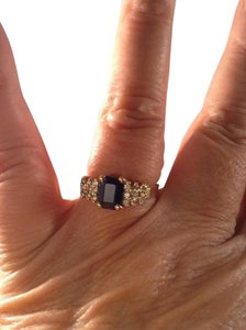 LeVian Levian, size 9.5, 14k yellow gold, 1.75 ct. t.w. blue sapphire, genuine diamond accents, fashion, birthstone designer, cluster ring