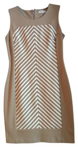 Calvin Klein short dress beige/ white stripe Polyester on Tradesy