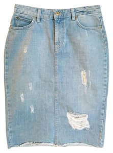 Zara Denim Pencil Distressed Skirt blue, denim