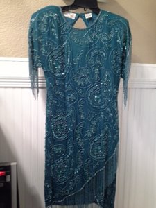 Laurence Kazar Silk Sequins Beads Vintage Dress