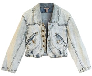 H&M Acid Wash Denim Retro blue, denim Womens Jean Jacket