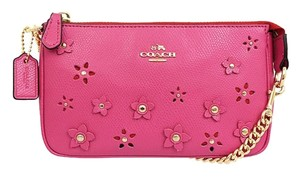 Coach COACH F65471 LARGE WRISTLET 19 IN FLORAL APPLIQUE LEATHER GOLD/DAHLIA NWT