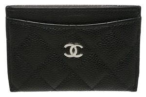 Chanel Chanel Black Quilted Caviar Leather Card Holder
