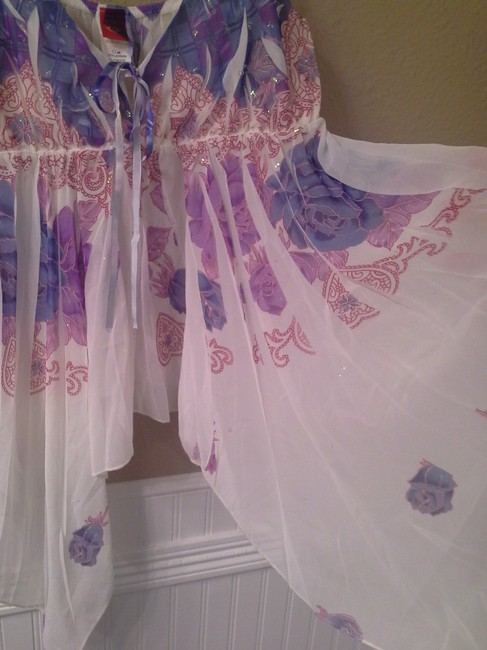 Other Top White with purple, blue, pink Image 2