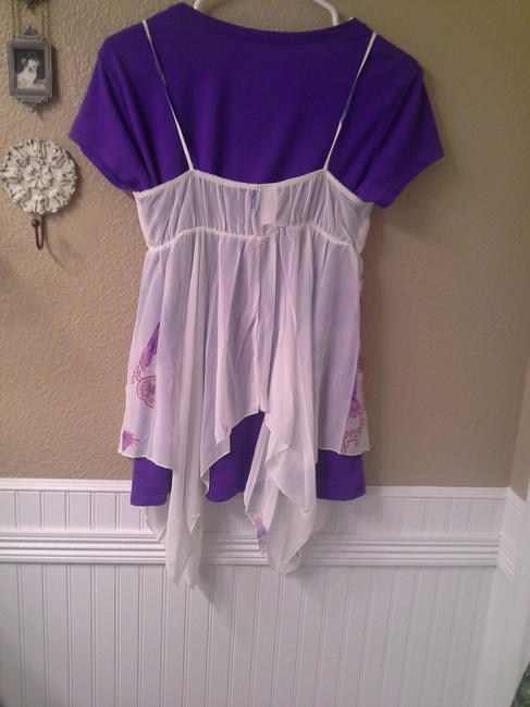 Other Top White with purple, blue, pink Image 5