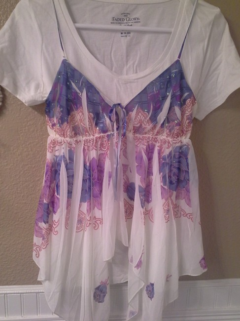 Other Top White with purple, blue, pink Image 6