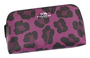 Coach COACH F53438 COSMETIC CASE 17 IN OCELOT PRINT COATED CANVAS SILVER/CRANBERRY