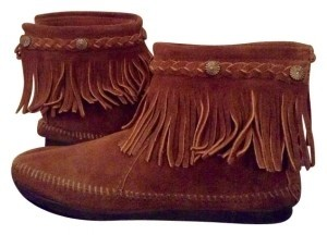 Minnetonka Fringe Festival Style Americana Brown Suede Boots