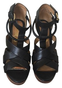 L.A.M.B. Platform Strappy Leather Black Sandals