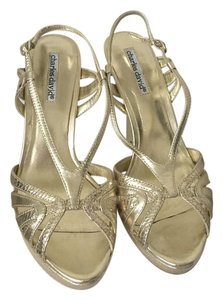 Charles David Metallic Snakeskin Gold Sandals
