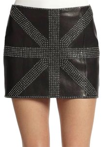 Haute Hippie Leather Studded Mini Mini Skirt Black