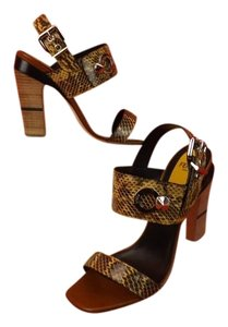 Fendi Brown, Beige Sandals