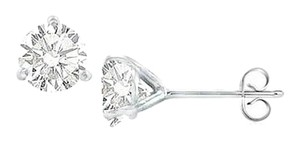 LoveBrightJewelry 14K White Gold Martini Style Cubic Zirconia Stud Earring with 2.00 CT TGW
