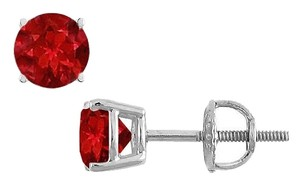 LoveBrightJewelry 14K White Gold Prong Set Ruby Stud Earrings 0.25 CT TGW