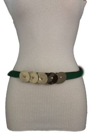 Other Women Belt Fashion Rust Brown Mustard Green Faux Leather Narrow Gold Buckle Image 11