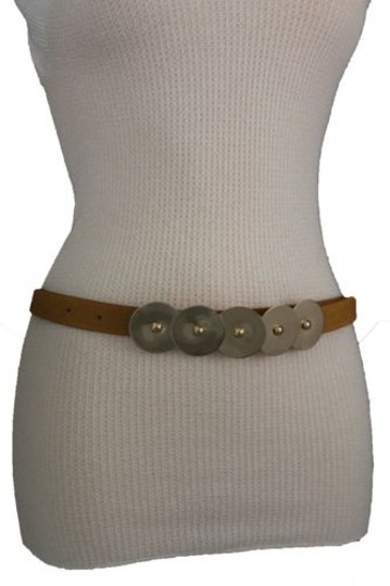 Other Women Belt Fashion Rust Brown Mustard Green Faux Leather Narrow Gold Buckle Image 5