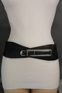 Women Hip High Waist Wide Black Elastic Fabric Fashion Belt Metal Buckle