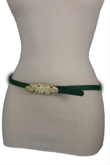 Other Women Belt Fashion Blue Red Green Faux Leather Narrow Gold Metal Leaf Buckle Image 11