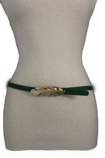 Other Women Belt Fashion Blue Red Green Faux Leather Narrow Gold Metal Leaf Buckle Image 2
