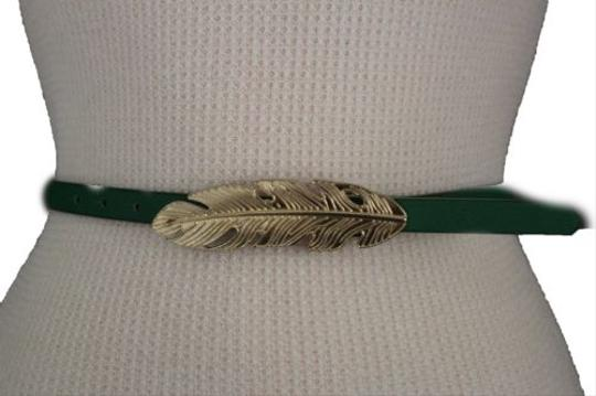 Other Women Belt Fashion Blue Red Green Faux Leather Narrow Gold Metal Leaf Buckle Image 5