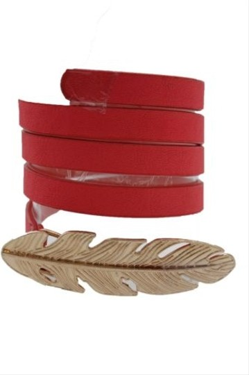 Other Women Belt Fashion Blue Red Green Faux Leather Narrow Gold Metal Leaf Buckle Image 7