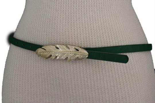 Other Women Belt Fashion Blue Red Green Faux Leather Narrow Gold Metal Leaf Buckle Image 8