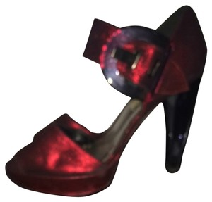 ALDO Lucite Metallic Peep Toe Red Sandals