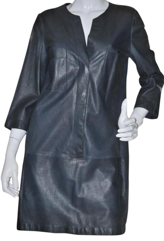 063be389dc830 Vince Blue Gray Leather Tunic Above Knee Short Casual Dress Size 10 ...