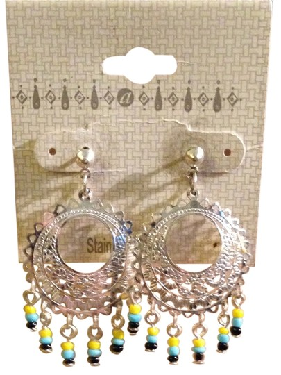 Other Vintage NEW Never Worn 1980s Silver Tone Stainless Steel Bead Dangles Post Back Pierced Ear Hoop Earrings On Sales Card