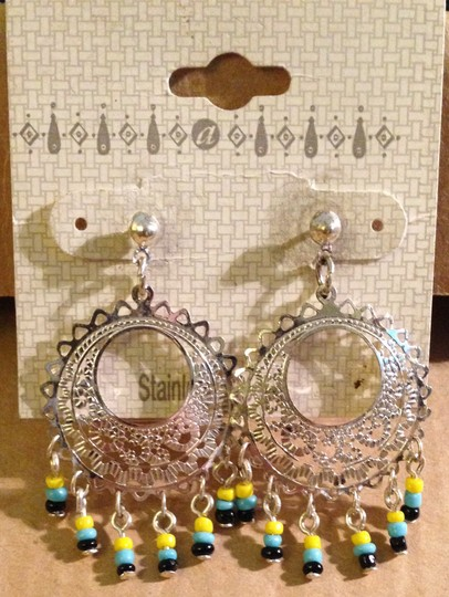Other Vintage NEW Never Worn 1980s Silver Tone Stainless Steel Bead Dangles Post Back Pierced Ear Hoop Earrings On Sales Card Image 1