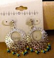 Other Vintage NEW Never Worn 1980s Silver Tone Stainless Steel Bead Dangles Post Back Pierced Ear Hoop Earrings On Sales Card Image 2
