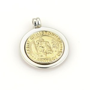 Tiffany & Co. Tiffany Co. Sterling 18k Yellow Gold Saint Christopher Medallion Pendant