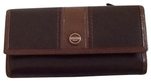 Coach Black And Brown Leather Coach Wallet With Checkbook